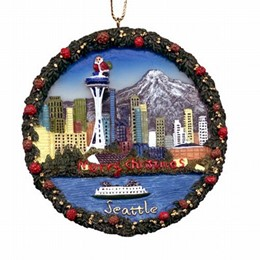 Seattle Round Polyresin Christmas Ornament