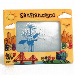 San Francisco Yellow Puff Hand Painted Picture Frame (4x6)