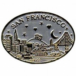 "San Francisco ""Starry Night"" Gold and Pewter Oval Magnet"