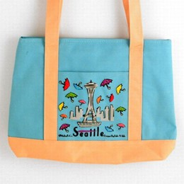 Seattle Umbrellas Blue & Yellow Canvas Tote