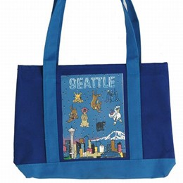 Seattle Cats and Dogs Small Blue Canvas Tote