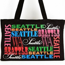 Seattle Black Typography Canvas Tote