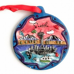 Seattle Umbrellas Puff Hand Painted Christmas Ornament (3 inches)