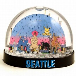 Seattle Cats & Dogs Small Snowglobe