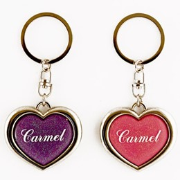 Carmel Heart Transparent Glitter Keychain (each)