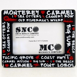 "Monterey/Carmel Black Graffiti for 3.25"" x 5"" Image Picture Frame"