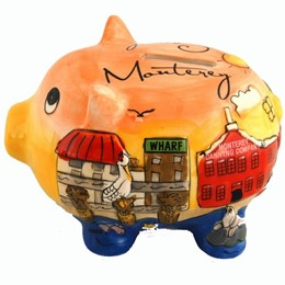 Monterey/Carmel Puff Handpainted Piggy Bank