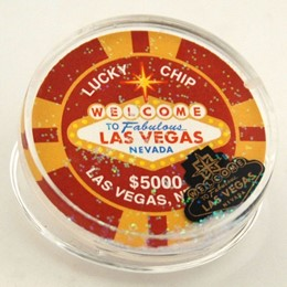 Las Vegas $5K Red Pokerchip Float Clip Magnet