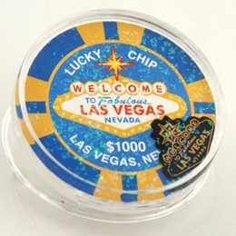 Las Vegas $1K Blue Pokerchip Float Clip Magnet