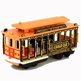 "San Francisco Cable Car Brown Wood 7"" Musical"