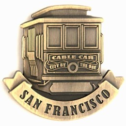 San Francisco Cable Car Front View Bronze Magnet