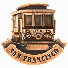 San Francisco Cable Car Front View Copper Magnet