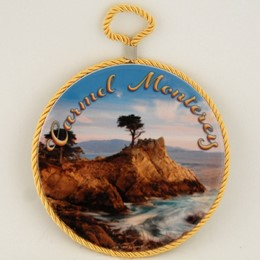"California Monterey Carmel Cypress 6"" Round Trivet With Rope"