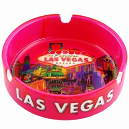 "Las Vegas Pink Solar 4"" Round Ashtray"