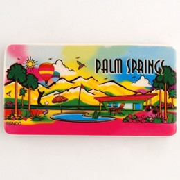 Palm Springs Neon Rainbow Rectangle Ceramic Magnet