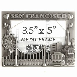 San Francisco Hearts/Skyline 4x6 Pewter Metal Frame