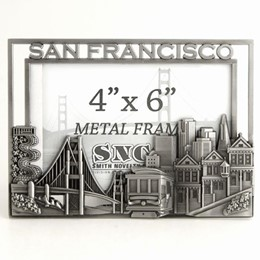 San Francisco Cutout/Skyline 4x6 Pewter Metal Frame