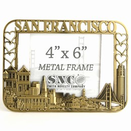 San Francisco Cutout/Hearts 4x6 Bronze Metal Frame
