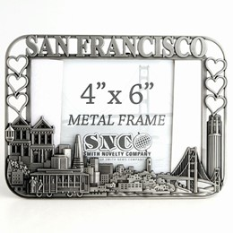 San Francisco Cutout/Hearts 4x6 Pewter Metal Frame