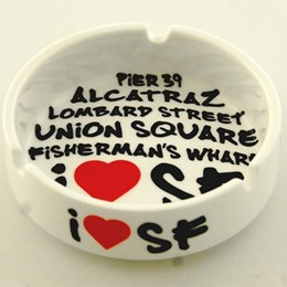 San Francisco White Graffiti Round Ashtray - Ceramic
