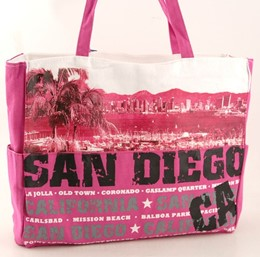 San Diego Harbor Pink Canvas Tote