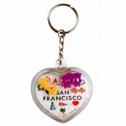 "San Francisco ""Expressions"" Heart Floating Keychain"