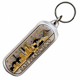 San Francisco Starry Night Night Black & Gold Oblong Keychain