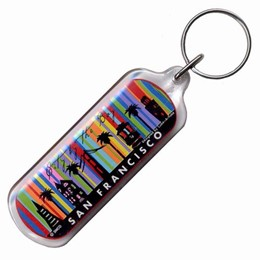 "San Francisco ""City of SF"" Striped Colorful Keychain"