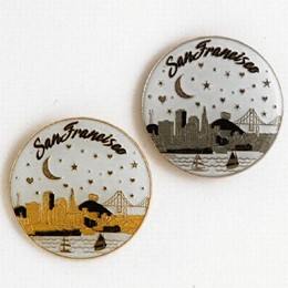 San Francisco Starry Night Round Metal Pin (each)