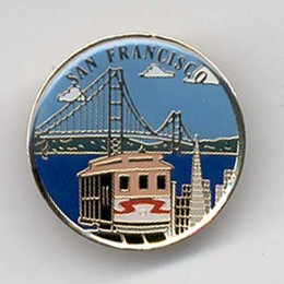 San Francisco Photo Collage Brass Round Pin