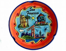 "San Francisco ""Hand Painted"" 3-Scene Round Ashtray"