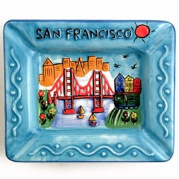 "San Francisco ""Hand Painted"" Blue Rectangular Ashtray"