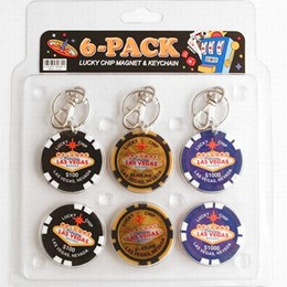 Las Vegas 6-Pack Pokerchip 3 Keychains & 3 Magnets