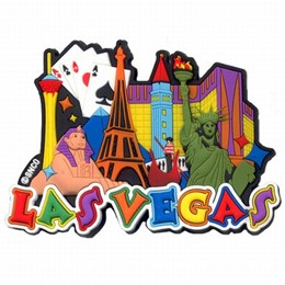 Las Vegas Colorful Collage Rubber Magnet