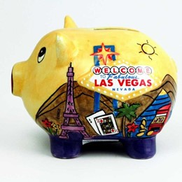 Las Vegas Hand Painted Puff Yellow Piggy Bank