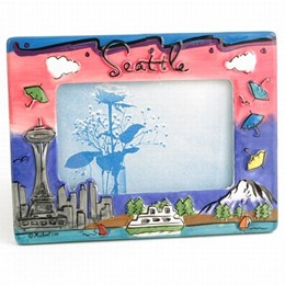 Seattle Hand Painted Umbrellas  4x6 Picture Frame