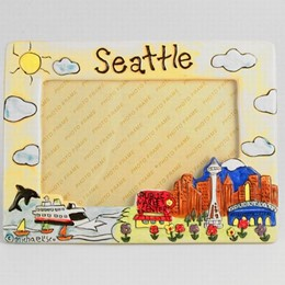 Seattle Puff Yellow Hand Painted 4x6 Picture Frame