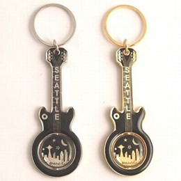 Seattle Cityscape Guitar Black & Gold Spinning Keychain (each)