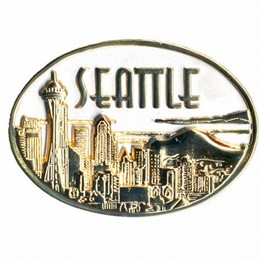 Seattle Embossed Oval Gold & Pewter Magnet