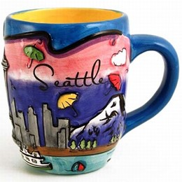 Seattle Umbrellas Puff Hand Painted Round Mug