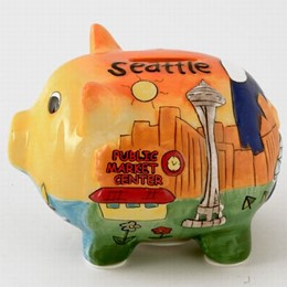 Seattle Puff Hand Painted Piggy Bank