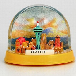 Seattle Space Needle Groovy Colorful Globe