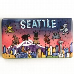 Seattle Cats & Dogs Hand Painted Magnet