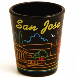 San Jose Neon Black Shot Glass