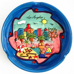 Los Angeles Puff Hand Painted Blue Ashtray
