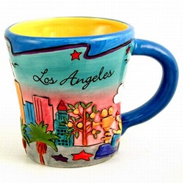 Los Angeles Puff Hand Painted Yellow-Inside Trumpet Mug