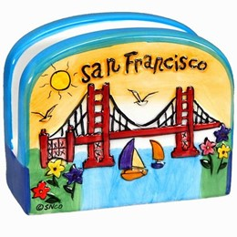 "San Francisco ""Hand Painted"" Napkin Holder (4 inches)"