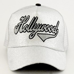 Hollywood Shiny Glitter Script Silver Hat