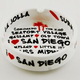 San Diego White Graffiti Ashtray