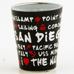 San Diego Black Graffiti Shotglass